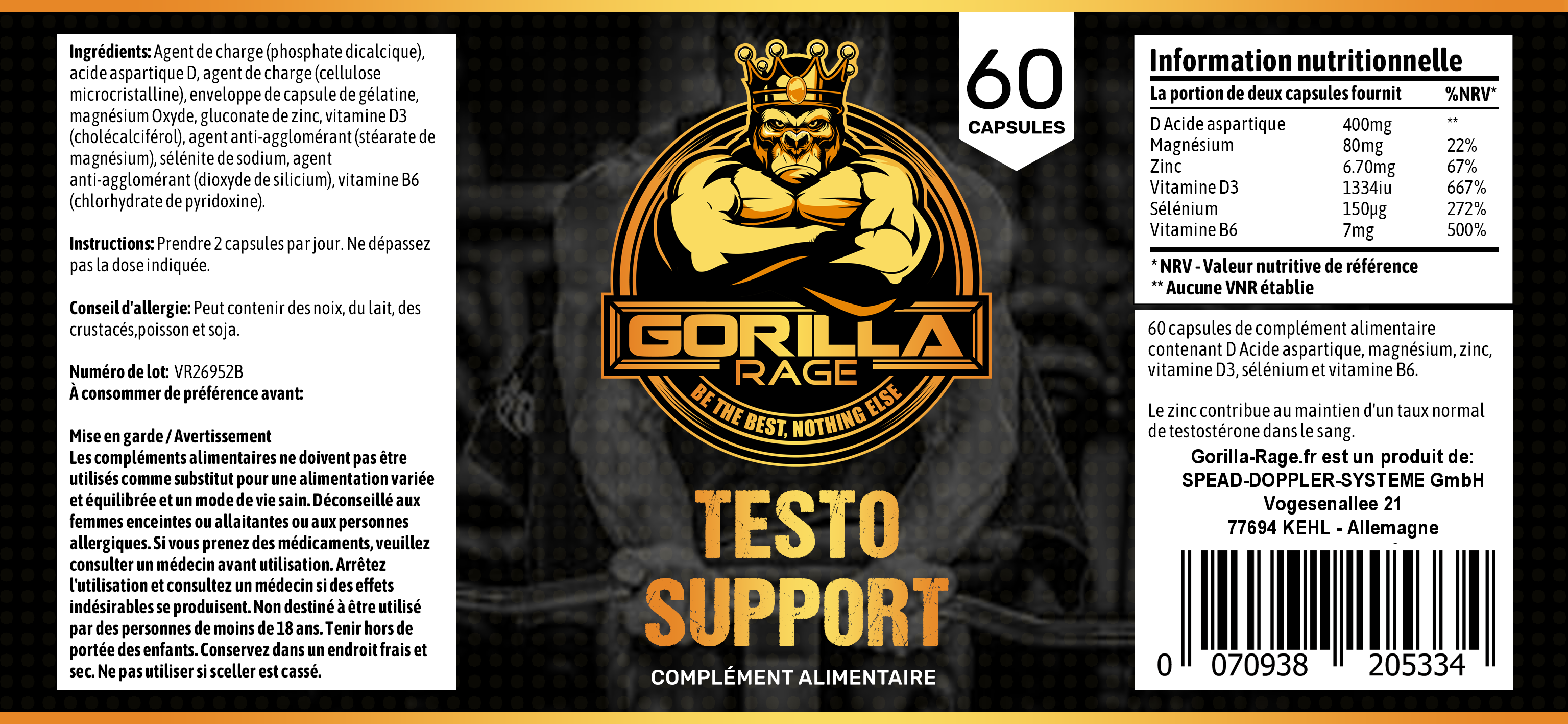 Testo Support French Label